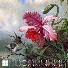 Мозаичное панно из витражного стекла орхидея орхидея