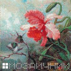 Мозаичное панно из витражного стекла орхидея