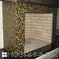 Укладка мозаики камине