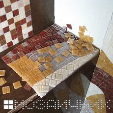 Подготовка колотой мозаики на сетке фото