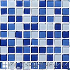 синяя мозаика с белоснежной затиркой фото