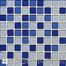 синяя мозаика с белой затиркой фото