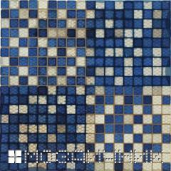 синяя мозаика с затиркой фото