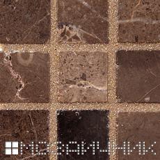 Коричневая эпоксидная затирка сливается с мраморной мозаикой фото