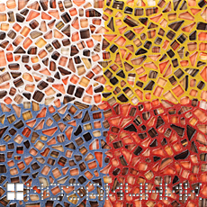 Яркий пример того как затирка влияет на общий цвет мозаики фото