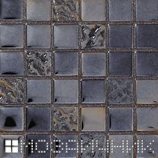 Черная стеклянная мозаика с черной затиркой - темнит мозаику фото
