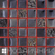 Черная стеклянная мозаика с красной затиркой - контраст фото