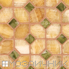 Мозаика из оникса затерта нежно розовой эпоксидной затиркой фото